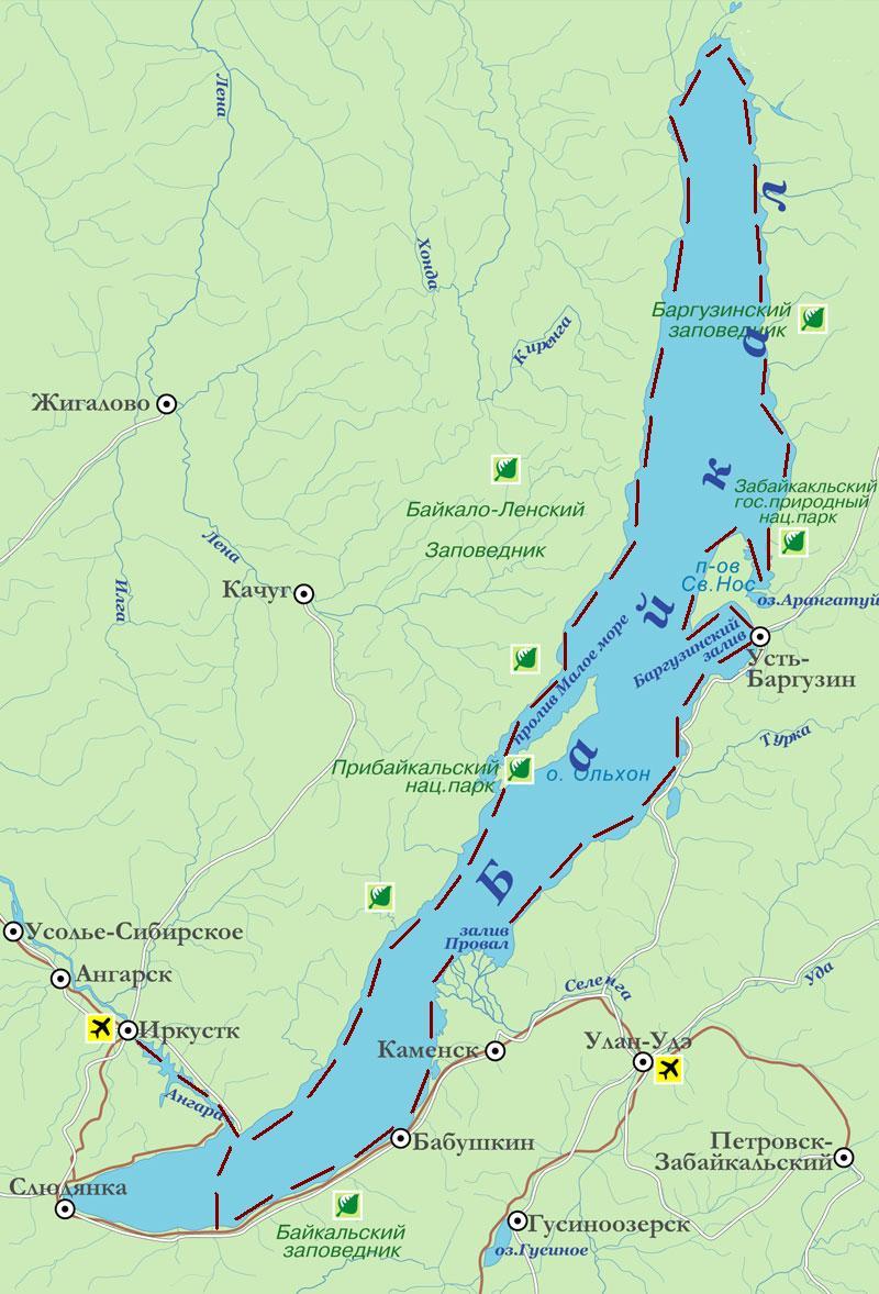 Карта путешествия на лодке по Байкалу