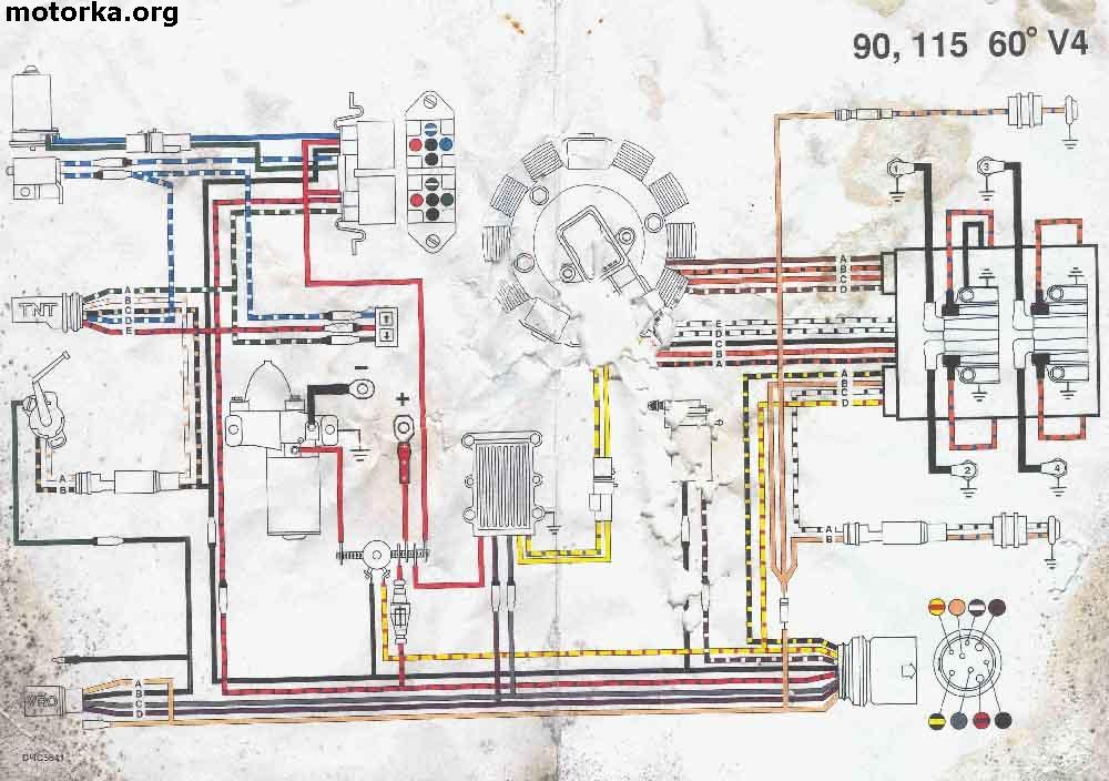 Электрическая схема мотора Johnson 90, Johnson 115